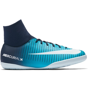 Nike Youth Mercurial Victory VI DF IC Indoor Soccer Shoes (Thunder Blue/White/Gamma Blue)