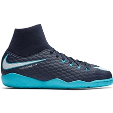 Nike Youth HypervenomX Phelon III DF IC Indoor Soccer Shoes (Obsidian/White/Gamma Blue/Glacier Blue)