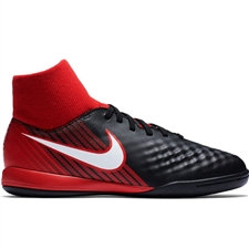 Nike Youth MagistaX Onda II DF IC Indoor Soccer Shoes (Black/White/University Red)