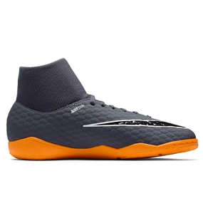 Nike Youth Hypervenom PhantomX III Academy DF IC Indoor Soccer Shoes (Dark Grey/Total Orange/White)