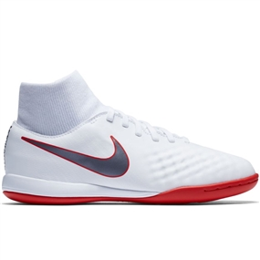 Nike Youth ObraX II Academy DF IC Indoor Soccer Shoes (White/Metallic Cool Grey/Light Crimson)