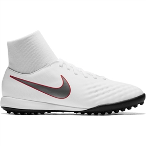 Nike Youth ObraX II Academy DF TF Turf Soccer Shoes (White/Metallic Cool Grey/Light Crimson)