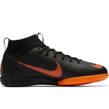 Nike Youth Mercurial SuperflyX VI Academy IC Indoor Soccer Shoes (Black/Total Orange/White)