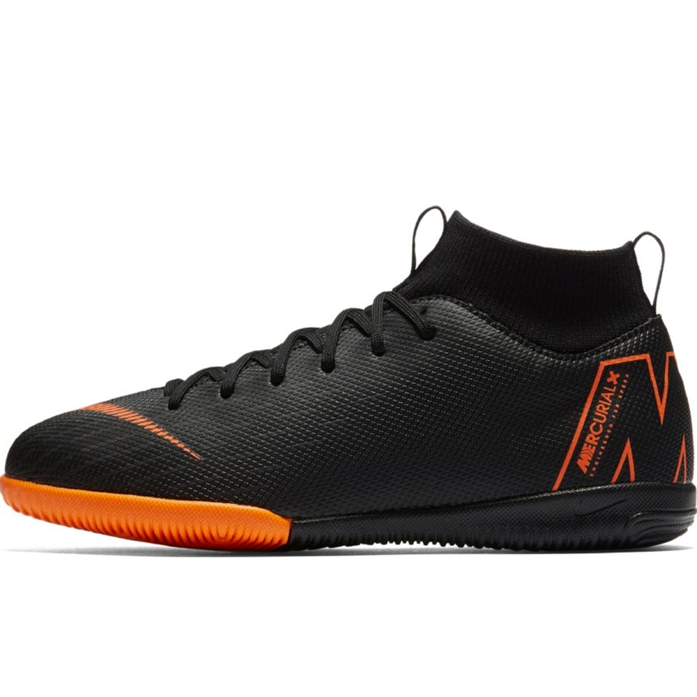 3ece379f7bd2 Nike Youth Mercurial SuperflyX VI Academy IC Indoor Soccer Shoes (Black Total  Orange White)