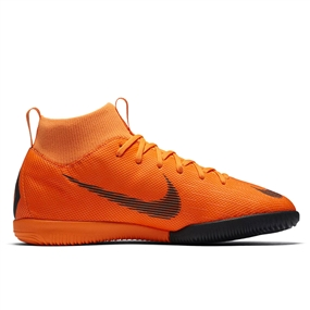 Nike Youth Mercurial SuperflyX VI Academy IC Indoor Soccer Shoes (Total Orange/Black/Volt)