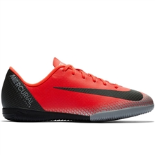 Nike Youth VaporX 12 Academy CR7 IC Indoor Soccer Shoes (Bright Crimson/Black/Chrome/Dark Grey)