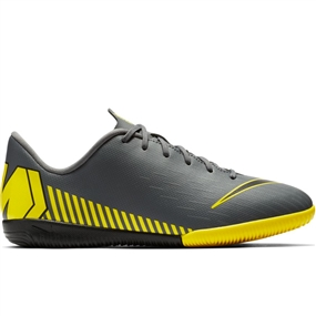 Nike Youth VaporX 12 Academy IC Indoor Soccer Shoes (Dark Grey/Black/Opti Yellow)