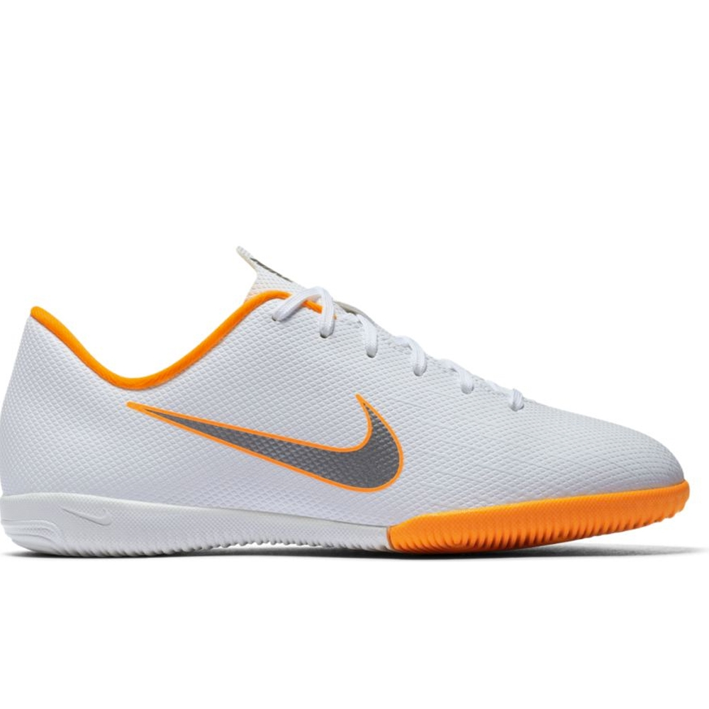 82bcce57b453 Nike Youth VaporX XII Academy IC Indoor Soccer Shoes (White Metallic ...