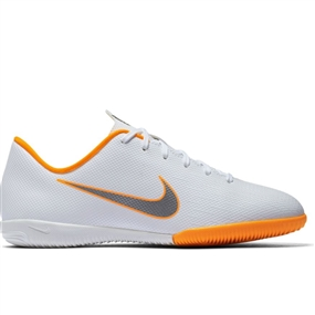 Nike Youth VaporX XII Academy IC Indoor Soccer Shoes (White/Metallic Cool Grey/Total Orange)