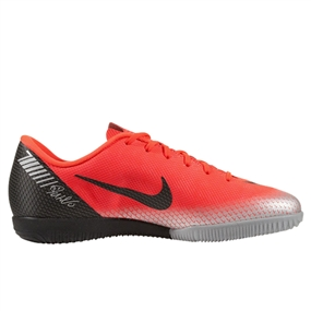 Nike Younger Kids' VaporX 12 Academy CR7 IC Indoor Soccer Shoes (Bright Crimson/Black/Chrome/Dark Grey)
