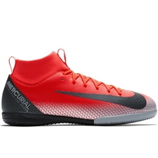 Nike Youth SuperflyX VI Academy CR7 IC Indoor Soccer Shoes (Bright Crimson/Black/Chrome/Dark Grey)
