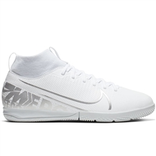 Nike Youth Superfly 7 Academy IC Indoor Soccer Shoes (White/Chrome/Metallic Silver)