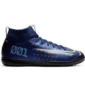 Nike Youth Superfly 7 Academy MDS IC Indoor Soccer Shoes (Blue Void/Barely Volt/White/Black)