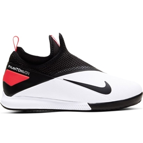 Nike Youth Phantom Vision 2 Academy DF IC Indoor Soccer Shoes (White/Black/Laser Crimson)