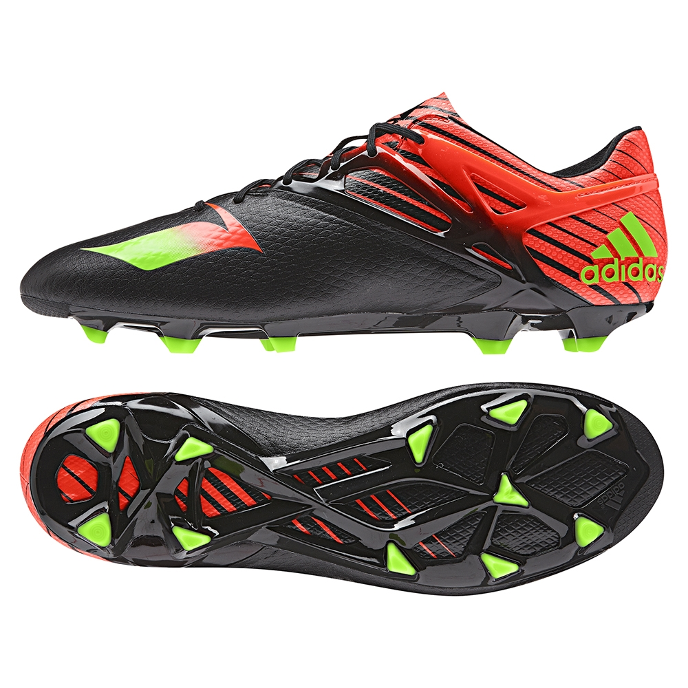Adidas Messi 15.1 FG/AG Soccer Cleats (Black/Solar Green/Solar Red)