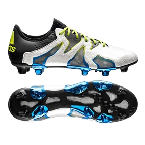 new concept cf299 bc3b8 Adidas X 15+ SL FG Soccer Cleats (White Core Black Shock Blue