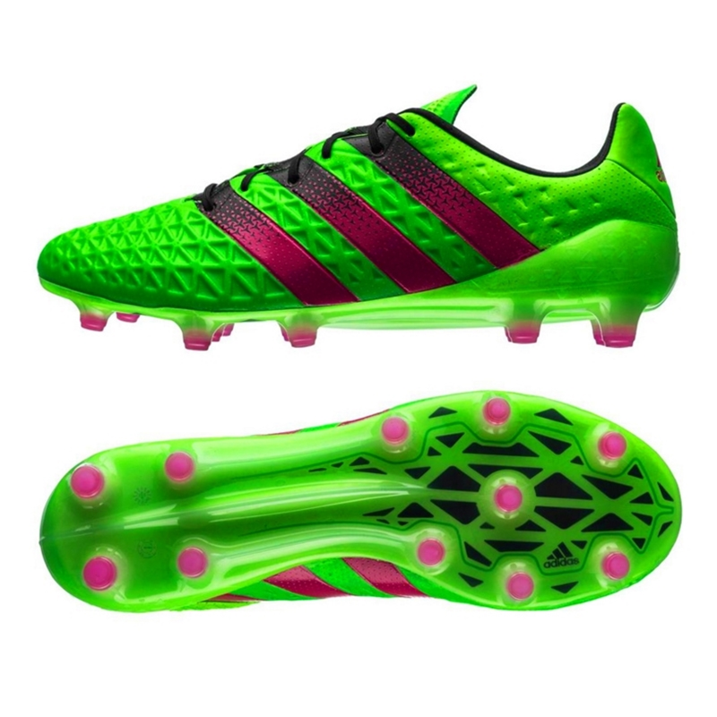 Adidas ACE 16.1 FG/AG Soccer Cleats (Solar Green/Shock Pink/Black)