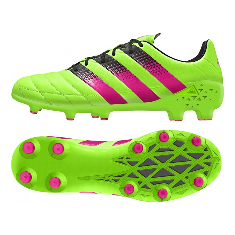 Adidas ACE 16.1 FG/AG (Leather) Soccer Cleats (Solar Green/Shock Pink/Black)