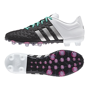 Adidas ACE 15.2 FG/AG Soccer Cleats (Black/Matte Silver/White)