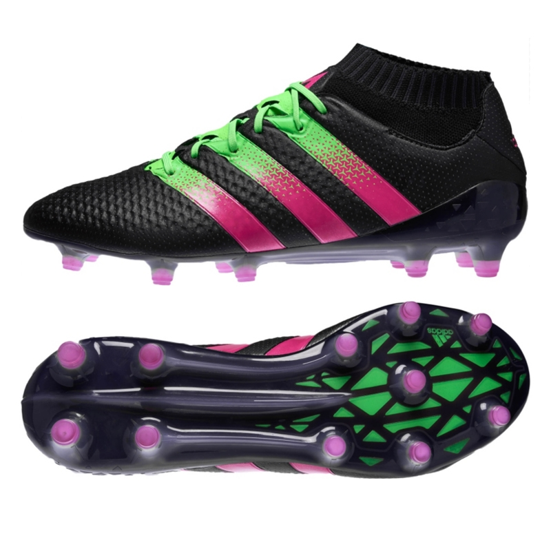 low priced fb20e a7f31 Adidas ACE 16.1 Primeknit FG Soccer Cleats (Black Shock Pink Solar Green)