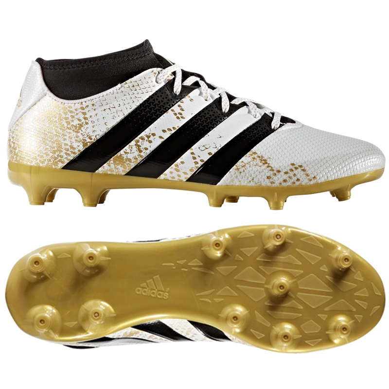 reputable site 647d8 41077 Adidas ACE 16.3 Primemesh FG AG Soccer Cleats (White Gold Metallic Black