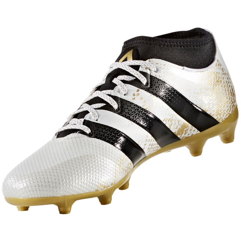 new arrival 335b1 af848 Adidas ACE 16.3 Primemesh FG/AG Soccer Cleats (White/Gold Metallic/Black)