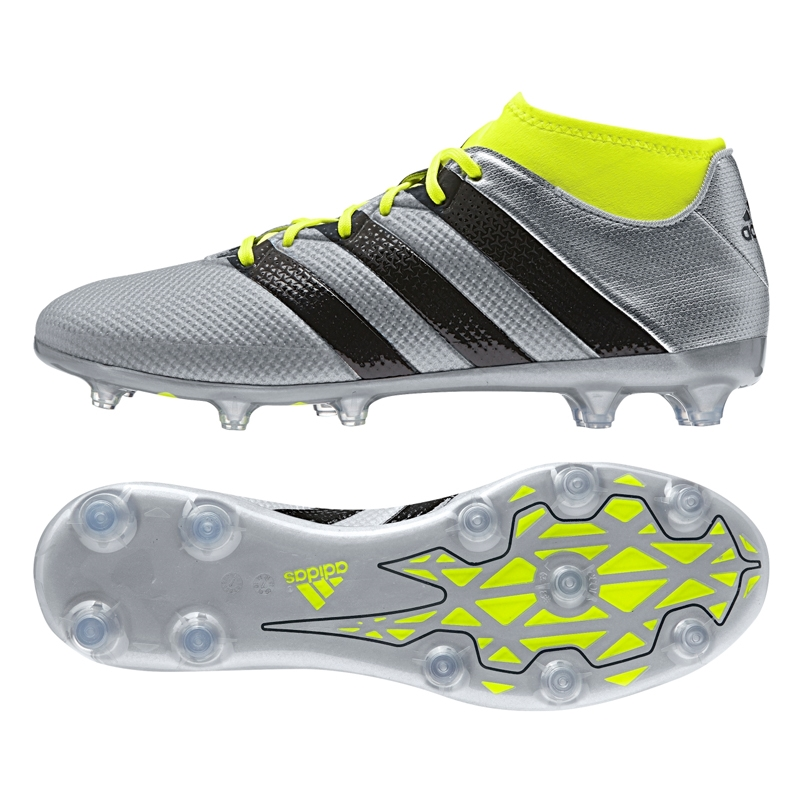 Silver Metallic Core Black Solar Yellow Mens Adidas ACE 16 2 Primemesh FG AG