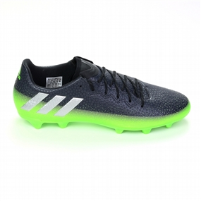 Adidas Messi 16.3 FG Soccer Cleats (Dark Grey/Silver Metallic/Slime Green)