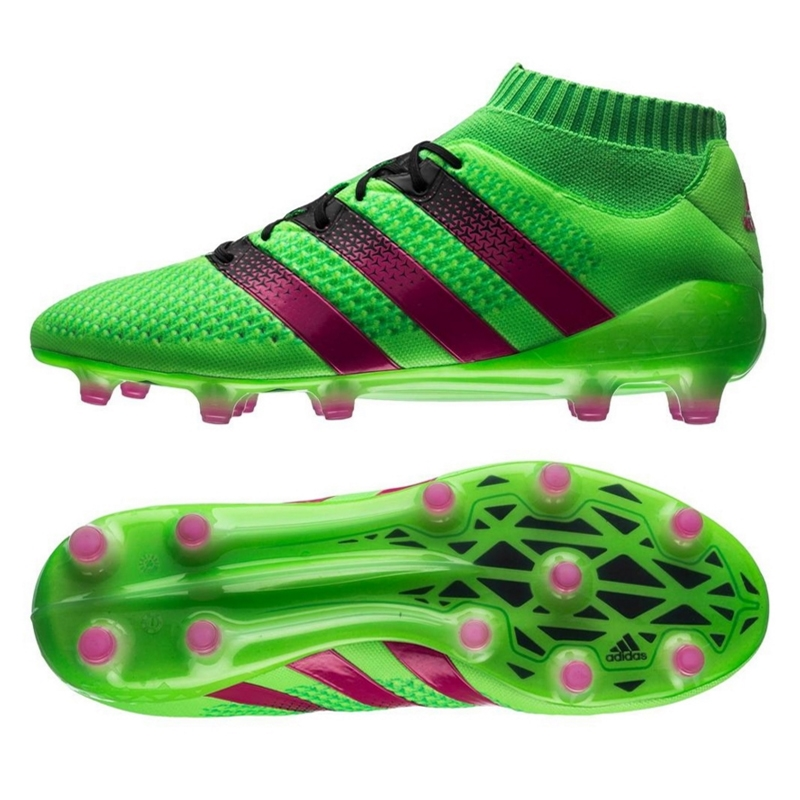 check out 97dcf 6f821 Adidas ACE 16.1 Primeknit FG Soccer Cleats (Solar Green/Shock Pink/Black)