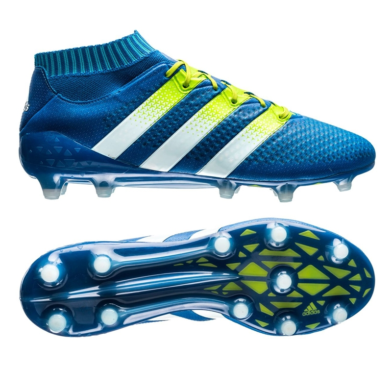 timeless design b730b 8bae0 Adidas ACE 16.1 Primeknit FG Soccer Cleats (Shock Blue Semi Solar  Slime White