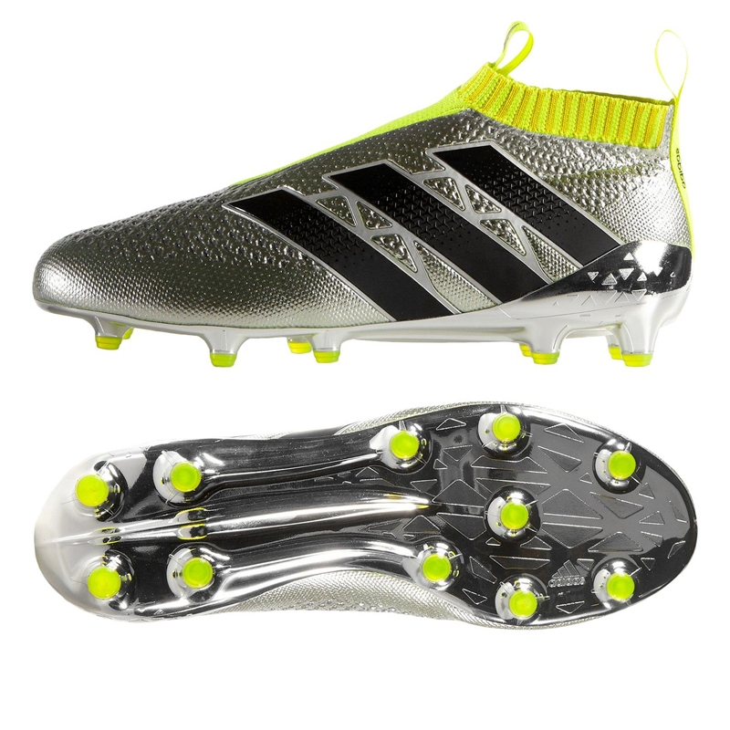 new concept e3331 6e7f3 Adidas ACE 16+ PURECONTROL FG Soccer Cleats (Silver Metallic/Core  Black/Solar Yellow)