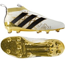 Adidas ACE 16+ PURECONTROL FG Soccer Cleats (White/Black/Gold Metallic) | AQ6357