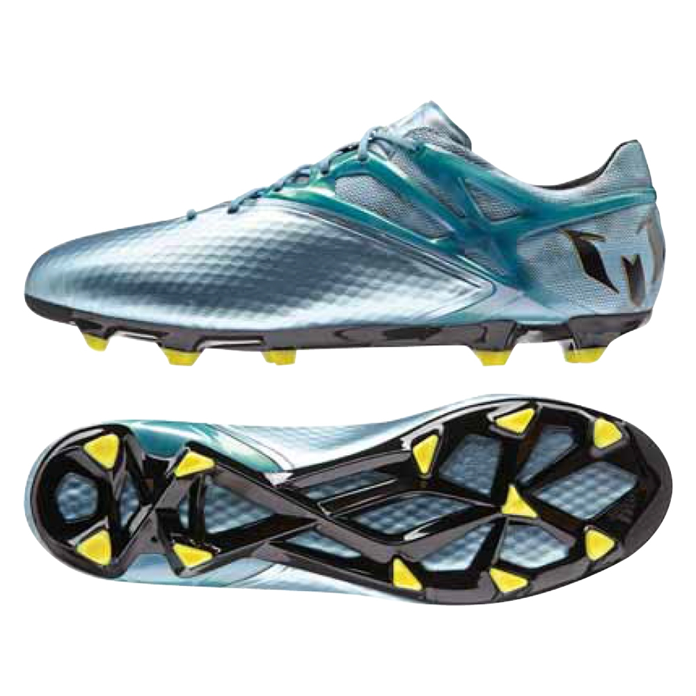 Adidas Messi 15.1 FG/AG Soccer Cleats (Matte Ice Metallic/Bright Yellow/
