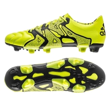 Adidas X 15.1 FG/AG (Leather) Soccer Cleats (Solar Yellow/Black/Frozen Yellow)