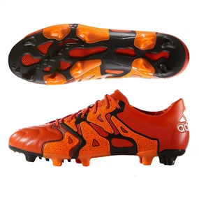Adidas X 15.1 FG/AG (Leather) Soccer Cleats (Solar Orange/Black/Bold Orange)
