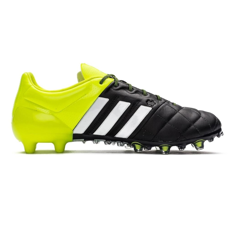 Adidas ACE 15.1 FG/AG (Leather) Soccer Cleats (Black/White/Solar Yellow)
