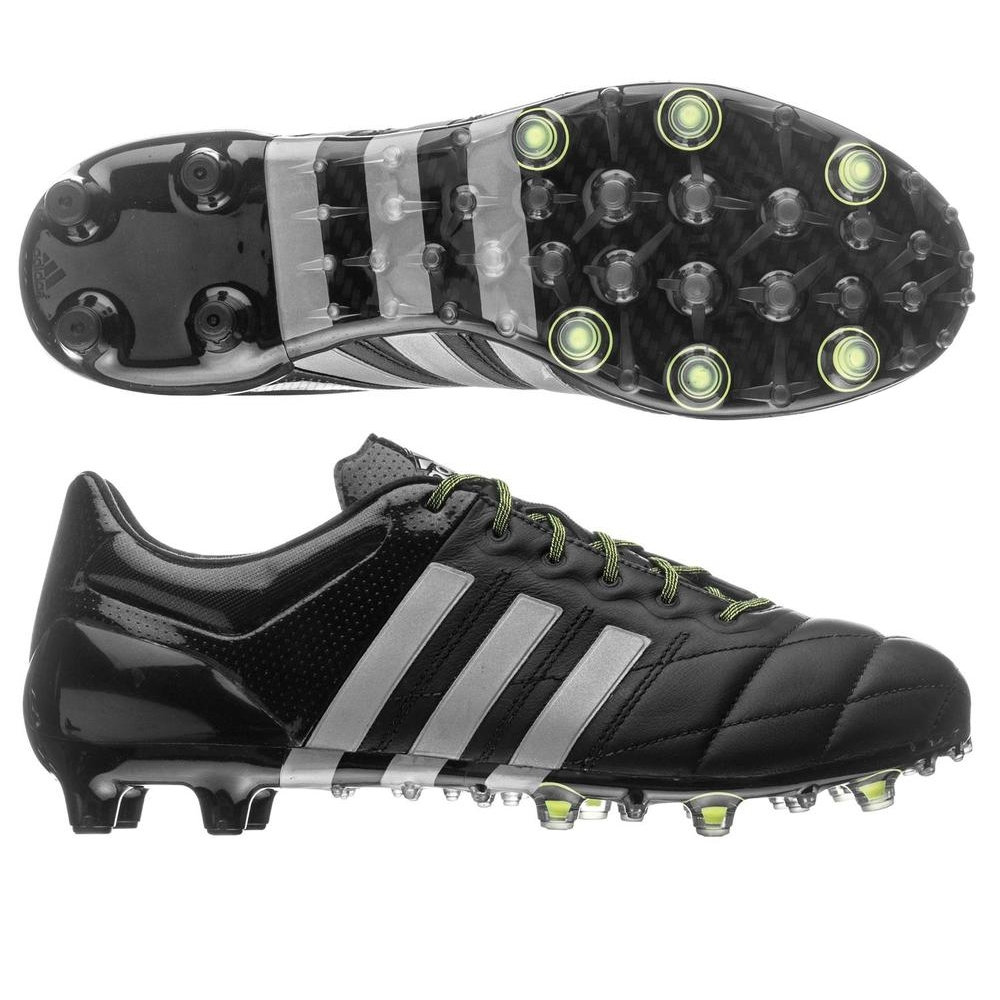 277b5958a Adidas ACE 15.1 (Leather) FG AG Soccer Cleats (Black Metallic Silver ...