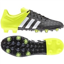 Adidas ACE 15.2 FG/AG Soccer Cleats (Black/White/Solar Yellow)