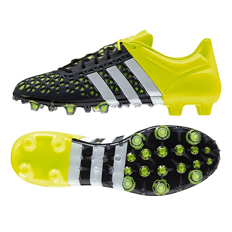 Adidas ACE 15.1 FG/AG Soccer Cleats (Black/White/Solar Yellow)