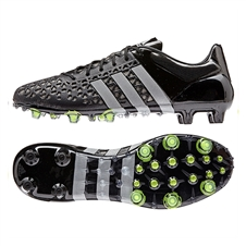 Adidas ACE 15.1 FG/AG Soccer Cleats (Black/Metallic Silver/Solar Yellow)