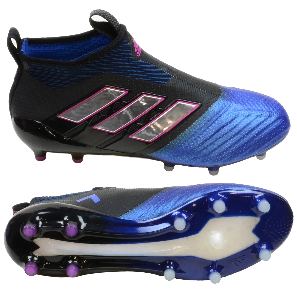 Adidas ACE 17+ PURECONTROL FG Soccer Cleats (Black White Blue ... 5c8e792a1ac0