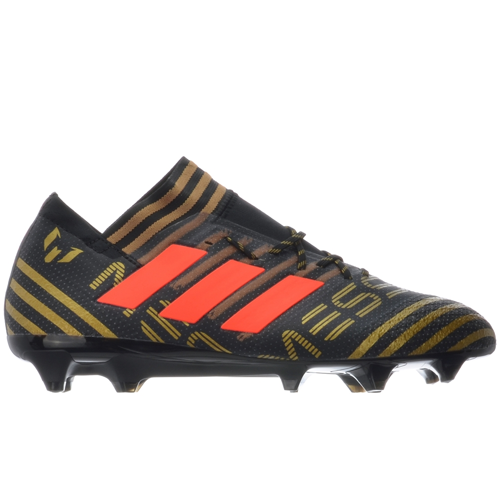 Adidas Nemeziz Messi 17.1 FG Soccer Cleats (Core Black/Solar Red/Tactile  Gold Metallic)