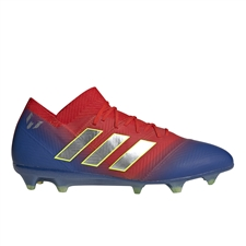 Adidas Nemeziz Messi 18.1 FG Soccer Cleats (Active Red/Silver Metallic/Football Blue) | Adidas BB9444