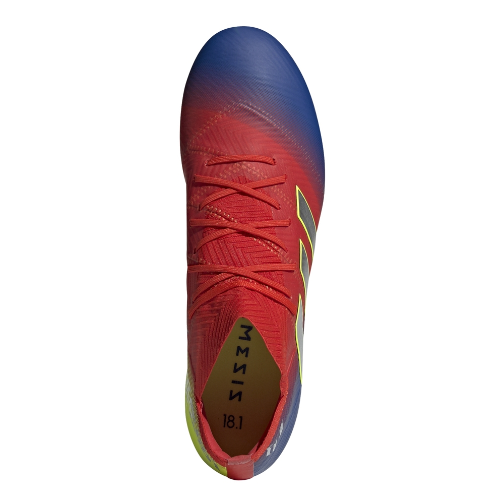 5c5349fa5 Adidas Nemeziz Messi 18.1 FG Soccer Cleats (Active Red Silver  Metallic Football Blue)