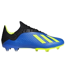 Adidas X 18.2 FG Soccer Cleats (Football Blue/Solar Yellow/Black) | Adidas DA9334
