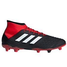 Adidas Predator 18.2 FG Soccer Cleats (Black/White/Red)