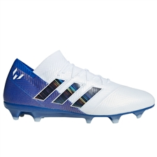 Adidas Nemeziz Messi 18.1 FG Soccer Cleats (White/Black/Football Blue)