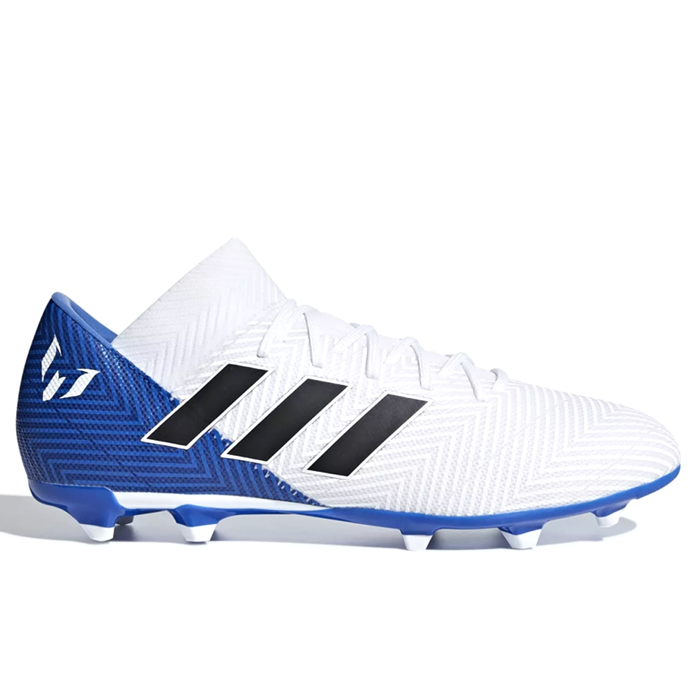 Adidas Nemeziz Messi 18.3 FG Soccer Cleats (White/Black/Football Blue)