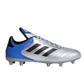Adidas Copa 18.3 FG Soccer Cleats (Silver Metallic/Black/Football Blue)