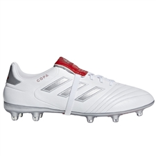 Adidas Copa Gloro 17.2 FG Soccer Cleats (White/Silver Metallic/Red)